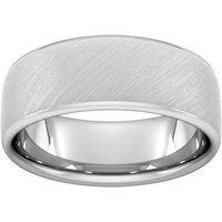 8mm Slight Court Extra Heavy Diagonal Matt Finish Wedding Ring In Platinum - Ring Size S