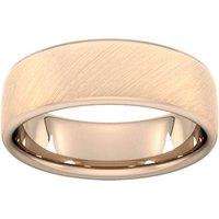 7mm D Shape Heavy Diagonal Matt Finish Wedding Ring In 9 Carat Rose Gold - Ring Size S