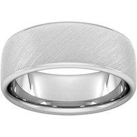 8mm D Shape Heavy Diagonal Matt Finish Wedding Ring In Platinum
