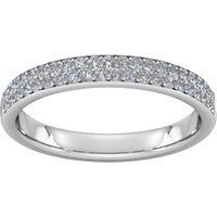 0.42 Carat Total Weight Brilliant Cut Double Row Grain Set Diamond Wedding Ring In 9 Carat White Gold - Ring Size K