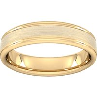 5mm Slight Court Extra Heavy Matt Centre With Grooves Wedding Ring In 18 Carat Yellow Gold - Ring Size S