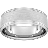 8mm Slight Court Extra Heavy Matt Centre With Grooves Wedding Ring In Platinum - Ring Size T