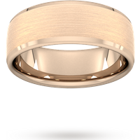 8mm Slight Court Heavy Polished Chamfered Edges With Matt Centre Wedding Ring In 18 Carat Rose Gold - Ring Size S