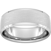 8mm Slight Court Heavy Polished Chamfered Edges With Matt Centre Wedding Ring In 950 Palladium - Ring Size T