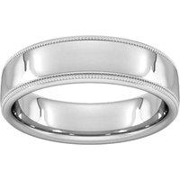 6mm Slight Court Standard Milgrain Edge Wedding Ring In 950 Palladium - Ring Size Q