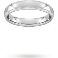 4mm D Shape Standard Milgrain Edge Wedding Ring In 18 Carat White Gold - Ring Size U