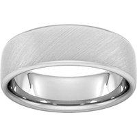 7mm D Shape Heavy Diagonal Matt Finish Wedding Ring In Platinum - Ring Size P