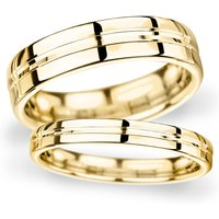 6mm Traditional Court Heavy Grooved Polished Finish Wedding Ring In 18 Carat Yellow Gold - Ring Size R