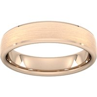 5mm Flat Court Heavy Polished Chamfered Edges With Matt Centre Wedding Ring In 9 Carat Rose Gold - Ring Size T