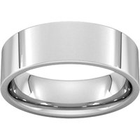 6mm Flat Court Heavy Wedding Ring In 18 Carat White Gold - Ring Size S