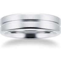 6mm Gents Titanium Wedding Ring With A Matte Finish And Engraved Line - Ring Size O
