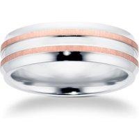 7mm Gents Titanium Wedding Ring With 9 Carat Rose Gold Lines - Ring Size T