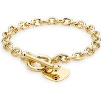 9ct Yellow Gold Oval Belcher Heart Tag T-Bar Bracelet