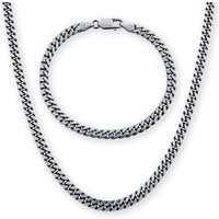 Silver Mens Oxidised Curb Necklace and Bracelet Set