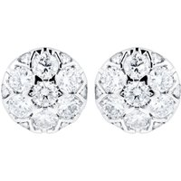 9ct White Gold 0.30ct Round Cluster Stud Earrings.