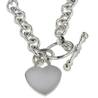 Sterling Silver Heart T Bar Necklace.