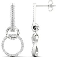 9ct White Gold 0.33cttw Round Link Drop Earrings