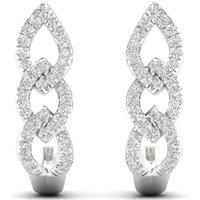 9ct White Gold 0.25cttw Chain Link Hoop Earrings