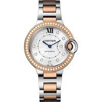 Ballon Bleu De Cartier Watch 33mm, Automatic Movement, Rose Gold, Steel, Diamonds