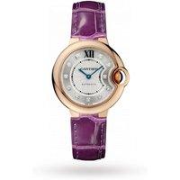Ballon Bleu De Cartier Watch 33mm, Automatic Movement, Rose Gold, Diamonds, Leather