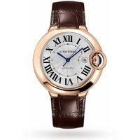 Ballon Bleu De Cartier Watch 42mm, Automatic Movement, Rose Gold, Leather