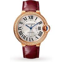 Ballon Bleu de watch, 36 mm, rose gold, diamonds, leather
