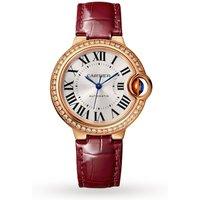 Ballon Bleu de watch, 33 mm, pink gold, diamonds, leather