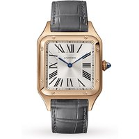 Santos-Dumont Watch Large Model, Quartz Movement, Pink Gold, Leather