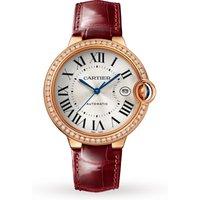Ballon Bleu De Cartier Watch, 40mm, Automatic Movement, Rose Gold, Diamonds, Leather