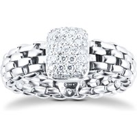 18ct White Gold Vendome Flexit 0.41ct Diamond Pave Ring - Ring Size O