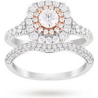 Brilliant Cut 1.18 Carat Total Weight Bridal Set In Platinum And Rose Gold - Ring Size M
