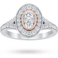 18 Carat White Gold 0.60 Carat Diamond Oval Ring With Rose Gold Milgrain - Ring Size M