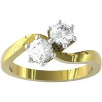 9ct Yellow Gold 0.25cttw Brilliant Cut 2 Stone Diamond Ring - Ring Size J.5