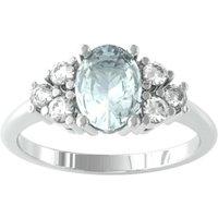 9ct White Gold Aquamarine and Brilliant Cut Diamond Ring - Ring Size B.5