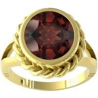 9ct Yellow Gold Garnet Rope Edge Ring - Ring Size D.5