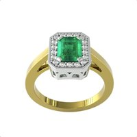 18ct Yellow and White Gold Emerald and Diamond Halo Ring -