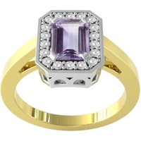 9ct Yellow and White Gold Amethyst and Diamond Halo Ring - Ring Size T.5