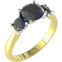 9ct Yellow and White Gold 3 Stone Sapphire Ring. - Ring Size Q.5