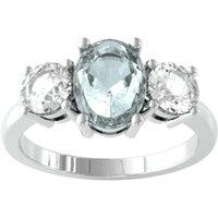 9ct White Gold 3 Stone Aquamarine and Diamond Ring - Ring Size K