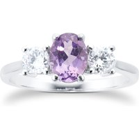 9ct White Gold 3 Stone Amethyst and Diamond Ring - Ring Size V