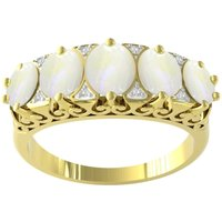 9ct Yellow Gold Victorian Style Opal and Diamond 5 Stone Ring - Ring Size X.5