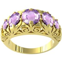 9ct Yellow Gold Victorian Style 5 Stone Amethyst Rings - Ring Size F