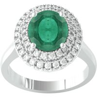 18ct White Gold Emerald and Diamond Double Halo Cluster