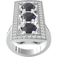 18ct White Gold Art Deco Sapphire and Diamond Plaque Ring - Ring Size B