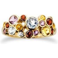 9ct Yellow Gold Multi Stone Buddle Ring - Ring Size X.5