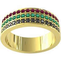 9ct Yellow Gold Ruby Emerald and Sapphire Half Eternity Ring - Ring Size Y.5