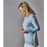 Womens Pure Cashmere Roll Neck Jumper XL Soft Blue