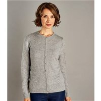 Womens Pure Cashmere Crew Neck Cardigan XL Grey Marl
