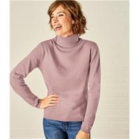 Womens Cashmere and Merino Fitted Polo Neck Knitted Jumper S Chalky Pink