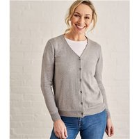 Womens Silk and Cotton Soft Feel V Neck Cardigan XXL Grey Marl